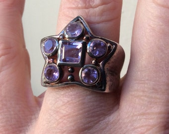 ART DECO TANK Ring - Sterling silver & Genuine Amethyst - Star Vintage ring-Nice Hand made - Very Original Amethyst Ring