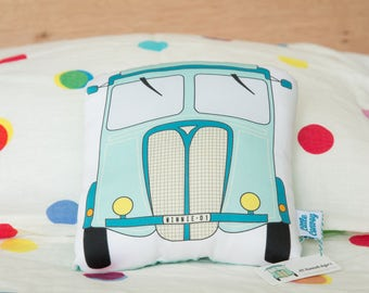 Vintage Truck Pillow Softie Cushion. Cute, cuddly and organic!