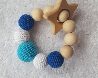 FREE SHIPPING Baby teether Teething ring Teether Nibble toy Crochet teether Wooden rattle toy Baby rattle Wood teething ring Babyshower gift