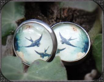 Stainless steel earstuds Blue Swallow 2