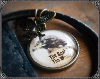 Western/Country Cabochon Necklace Eagle with text