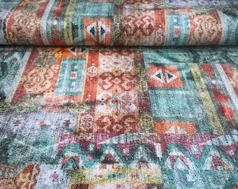Viscose jersey fabric, jersey abstract pattern, boho jersey, fabric by yard / half yard, european fabric