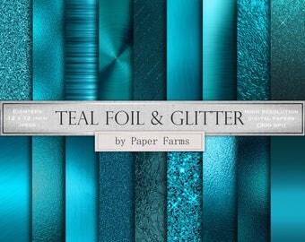 Teal foil and glitter, teal foil textures, teal foil digital paper, teal foil backgrounds, teal foil scrapbook paper, teal metal, glitter