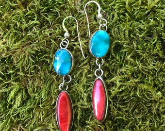 Turquoise and Spiny Oyster Earring