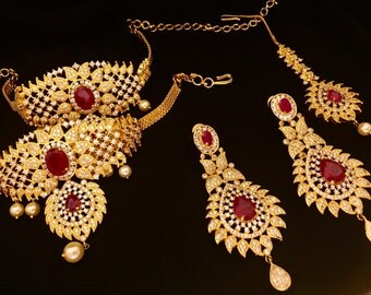Full Bridal Necklace Set in Ruby and Zirconia