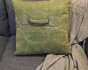 vintage salvaged military pillow // James E Weaver // salvaged Army duffle bag // industrial