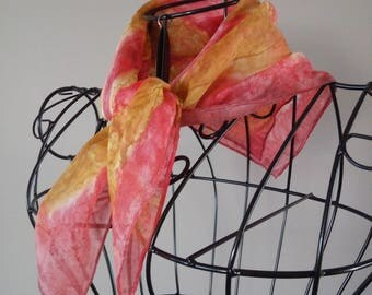Hand Painted Silk Scarf in Rose and Gold