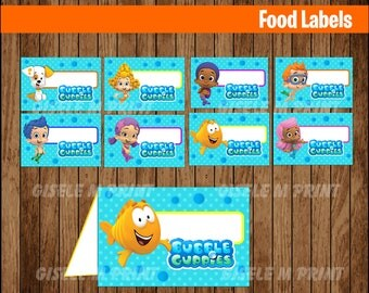 Bubble Guppies Food Labels Printable Bubble Guppies food tent cards Bubble Guppies party food & Bubble Guppies Printable Birthday Food Labels/Tent Cards YOU