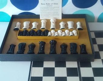 Sculptured Chess Set by Ganine- Mid Century Chess Set