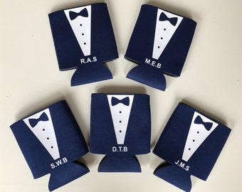 Tuxedo Can Coolers - Groomsman Can Coolers - Groomsmen Gift - Wedding Party Gift - Initials