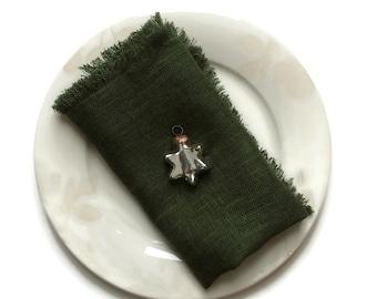 Linen Napkins with Fringes, Set of 6 Napkins, Dark Green Dinner Napkins, Natural Linen Napkins