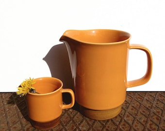 "Egersund Norway ""Unique"" big and small pitcher jug Kaare Block Johansen Scandinavian design orange brown retro tableware"