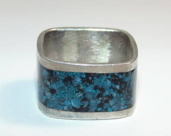 Stunning Vintage Silver 925 square Ring with crushed Turquoise inlay size 8.5