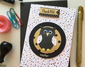 Teacher appreciation card. Male teacher. Owl card. Thank you Teacher. Favourite teacher. Best teacher. Die cut card. Gold card. Google eyes.