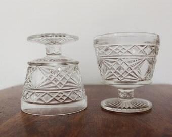 Pair Beautiful Cut Glass Wine Goblets with Geometric/ Diamond Pattern