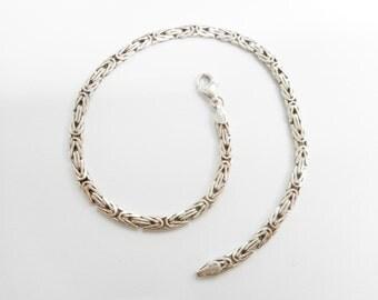 """Sterling Anklet, Byzantine Chain, Byzantine Anklet, Ankle Bracelet, Byzantine Bracelet, Vintage Anklet, 10.5"""" #2485"""