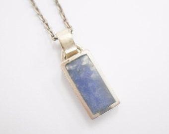 "Sodalite Necklace, Sodalite Pendant, Sterling Necklace, Vintage Necklace, Sterling Silver Bezel Set Sodalite Pendant Necklace 18"" #2660"