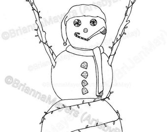 Snowman with Lights coloring page; download & print, Christmas, candy