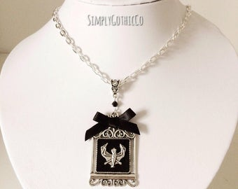 Gothic Bat Cage Necklace