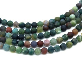 Matte Indian Agate Beads 6mm 8mm 10mm Natural Green Beads Matte Green Mala Beads Green Gemstone Beads Matte Green Agate Beads Mala Supplies