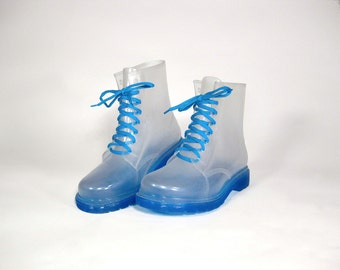 Blue Transparent Rubber Rain Boots (Size US 9 Womens / EUR 41)