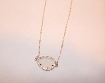 White Jade Bezzeled Necklace