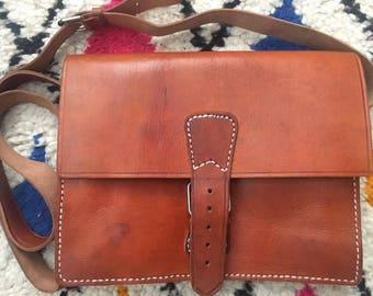 Handmade Moroccan tan buckle fastening satchel