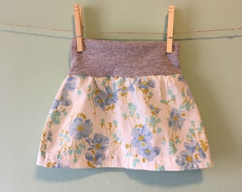 Blue and grey flowered skirt.