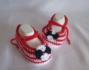 Baby shoes of ballerinas handmade marine look cotton approx. gr. 17/18 foot approx 11 cm