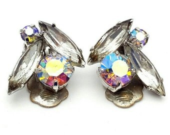 Aurora Borealis and Clear Rhinestones Clip on Earrings Retro Vintage clip-on Rainbow