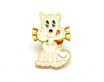 Cartoon Cat Gold Tone Metal with Enamel Paint Lapel Pin Signed F.B. Vintage Kitten Mother's Day gift for her Kitty Brooch
