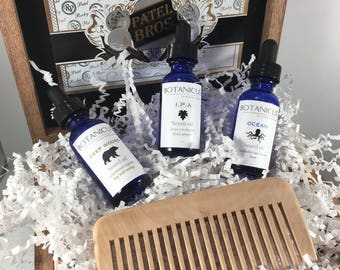 Our Cigar Box Beard Oil Sampler w/Birch Wood Comb-Choose 3 of your favorite fragrances from the list to put into this Cigar Box Gift