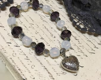 Heart Charm Bracelet Crystals Beads Elegant Evening Wedding Women Accessories Jewelry Jewellery Stack Bracelets Ladies Pretty Purple White