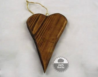 Wooden Hanging Heart - Love - Reclaimed wood - Ornament - Decoration - Wedding - Anniversary - new home - Gift - rustic