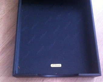 "1990s S T DUPONT PARIS Genuine Black Leather Paper Tray  In Very Good Condition 131/2"" x 10"" x 21/4"" No Box"