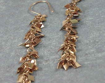 Gold Dangle Earrings, Gold Plated, Long