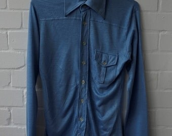 Vintage 1970s Men's Long Sleeved Blue Shirt Extra Small UK 34