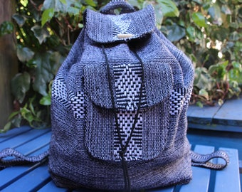 Handmade Loomed Mexican backpack White and Grey stripes diamond pattern / Hippie backpack / Goa backpack / Grey backpack