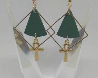 Gold Ankh green dangle earrings