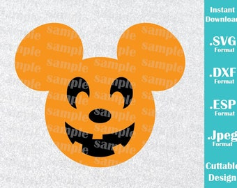INSTANT DOWNLOAD SVG Disney Inspired Halloween Pumpkin Mickey Ears Halloween Cutting Machines Svg, Esp, Dxf, Jpeg Format Cricut Silhouette