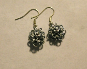 Aluminum Frost-colored Japanese Ball Chainmail Earrings