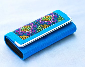 Unique Women's Wallet Fair Trade Hmong Tribe Embroidered Fabric from Thailand