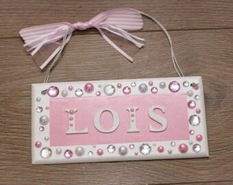 Girl's Handmade Personalised Diamond Diamante Plaque Bedroom Door Sign Plaque