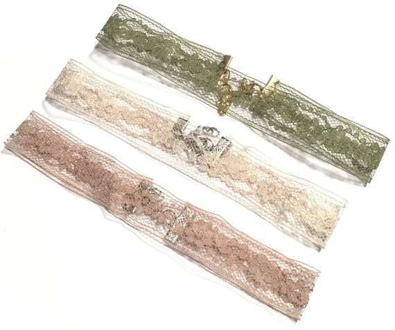 Choker | Taupe lace | Floral design | Nude | Olive Leaf Green | Beige | Taupe | Black | Necklace | TORI