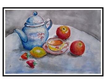 tea - watercolors painting on paper