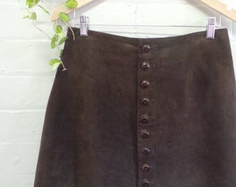 Dark Brown Suede Skirt