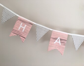 Custom Personalised Named Fabric Bunting Banner Flags Garland Decoration - Handmade In London