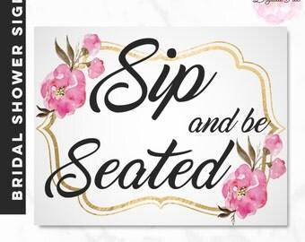 BRIDAL SHOWER SIGN- Pink Gold Flowers Handwritten Font Bar Cart Display Sign For Guests Chic Modern Wedding Gold Foil-Paris
