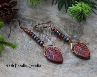 Red Picasso Leaf Earrings, Czech Glass Beaded Earrings, Rustic Earrings, Red Earrings, Leaf Earrings, Nature Earrings, Leaf Jewelry