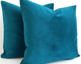 SALE- Belgium Cotton Velvet Pillow, Teal, Turquoise Pillow, Turquoise Decorative Pillow, Velvet Pillow, Design Lumbar pillow Teal pillow